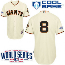 YOUTH San Francisco Giants #8 Hunter PenceAuthentic Cream Home2014 World Series Cool Base Jersey
