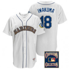 Hisashi Iwakuma #18 Seattle Mariners White Throwback Griffey Retirement Patch Jersey