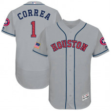 Carlos Correa #1 Houston Astros 2017 Stars & Stripes Independence Day Grey Flex Base Jersey