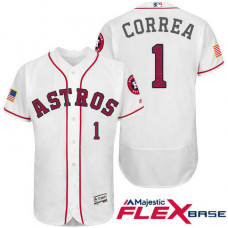 Houston Astros #1 Carlos Correa White Stars & Stripes 2016 Independence Day Flex Base Jersey