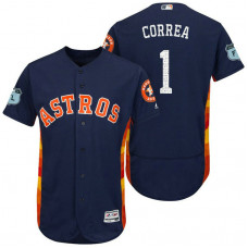 Houston Astros Carlos Correa #1 Navy 2017 Spring Training Grapefruit League Patch Authentic Collection Flex Base Jersey