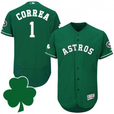 Houston Astros #1 Carlos Correa St. Patricks Day Green Celtic Flexbase Authentic Collection Jersey