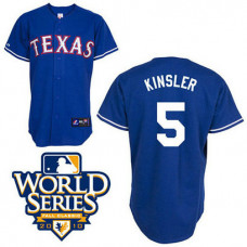YOUTH Texas Rangers #5 Ian KinslerBlue Cool Base 2010 World Series Patch Jersey