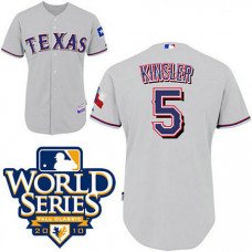 YOUTH Texas Rangers #5 Ian KinslerGrey Cool Base 2010 World Series Patch Jersey
