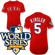 YOUTH Texas Rangers #5 Ian KinslerRed Cool Base 2010 World Series Patch Jersey