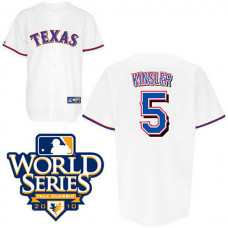 YOUTH Texas Rangers #5 Ian KinslerWhite 2010 World Series Patch Jersey