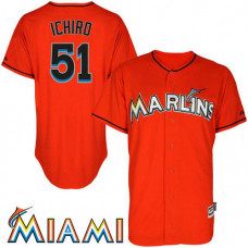 Ichiro Suzuki #51 Miami Marlins Firebrick Authentic Cool Base Jersey
