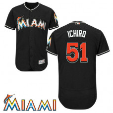 Ichiro Suzuki #51 Miami Marlins Alternate Black Collection Flex Base Jersey