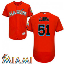 Ichiro Suzuki #51 Miami Marlins Alternate Firebrick Collection Flex Base Jersey