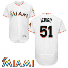 Ichiro Suzuki #51 Miami Marlins Home White Collection Flex Base Jersey
