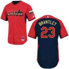 Cleveland Indians #23 Michael Brantley Authentic Red/Navy American League 2014 All Star BP Jersey