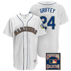 Ken Griffey Jr. #24 Seattle Mariners White Throwback Griffey Retirement Patch Jersey