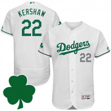 L.A. Dodgers #22 Clayton Kershaw St. Patricks Day White Celtic Flexbase Authentic Collection Jersey