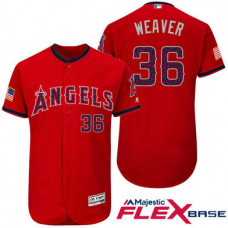 Los Angeles Angels #36 Jered Weaver Red Stars & Stripes 2016 Independence Day Flex Base Jersey