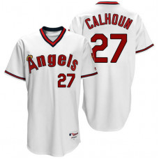 Los Angeles Angels #27 Mike Trout White 1970 Turn Back The Clock Throwback Jersey