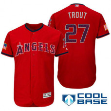 Los Angeles Angels #27 Mike Trout Red Stars & Stripes 2016 Independence Day Cool Base Jersey