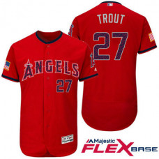 Los Angeles Angels #27 Mike Trout Red Stars & Stripes 2016 Independence Day Flex Base Jersey