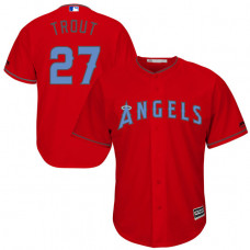 Los Angeles Angels #27 Mike Trout Red Fashion 2016 Father's Day Cool Base Jersey