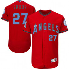 Los Angeles Angels #27 Mike Trout Red Fashion 2016 Father's Day Flex Base Jersey