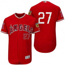 Los Angeles Angels Mike Trout #27 Scarlet 2017 Spring Training Cactus League Patch Authentic Collection Flex Base Jersey