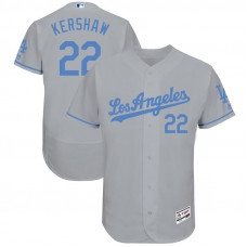 Clayton Kershaw #22 Los Angeles Dodgers 2017 Father's Day Grey Flex Base Jersey