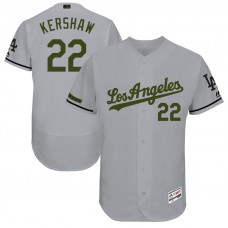 Clayton Kershaw #22 Los Angeles Dodgers 2017 Memorial Day Grey Flex Base Jersey