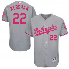 Clayton Kershaw #22 Los Angeles Dodgers 2017 Mother's Day Grey Flex Base Jersey