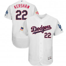 Clayton Kershaw #22 Los Angeles Dodgers 2017 Stars & Stripes Independence Day White Flex Base Jersey