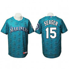 Seattle Mariners #15 Kyle Seager Authentic Watermark Fashion Cyan Jersey