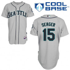 Seattle Mariners #15 Kyle Seager Authentic Grey Away Cool Base Jersey