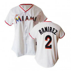 Women - Miami Marlins #2 Hanley Ramirez White Fashion Jersey