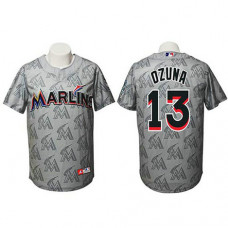 Miami Marlins #13 Marcell Ozuna Authentic Watermark Fashion Grey Jersey