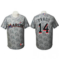 Miami Marlins #14 Martin Prado Authentic Watermark Fashion Grey Jersey