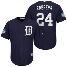 Detroit Tigers #24 Miguel Cabrera 2017 Spring Training Grapefruit League Patch Navy Cool Base Jersey