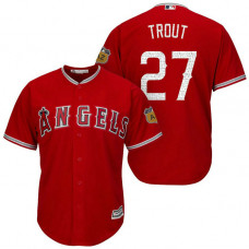 Los Angeles Angels #27 Mike Trout 2017 Spring Training Cactus League Patch Scarlet Cool Base Jersey