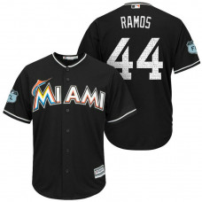 Miami Marlins #44 A.J. Ramos 2017 Spring Training Grapefruit League Patch Black Cool Base Jersey
