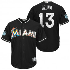 Miami Marlins #13 Marchell Ozuna 2017 Spring Training Grapefruit League Patch Black Cool Base Jersey