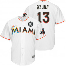 Miami Marlins #13 Marchell Ozuna 2017 All-Star Jose Fernandez Patch White Cool Base Jersey