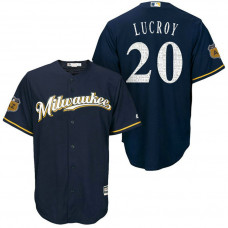 Milwaukee Brewers #20 Jonathan Lucroy 2017 Spring Training Cactus League Patch Navy Cool Base Jersey