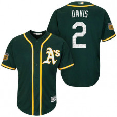 Oakland Athletics #2 Khris Davis 2017 Spring Training Cactus League Patch Green Cool Base Jersey