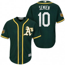 Oakland Athletics #10 Marcus Semien 2017 Spring Training Cactus League Patch Green Cool Base Jersey