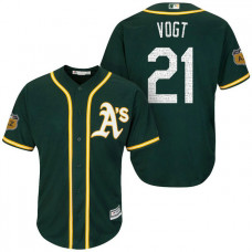 Oakland Athletics #21 Stephen Vogt 2017 Spring Training Cactus League Patch Green Cool Base Jersey
