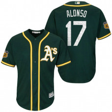 Oakland Athletics #17 Yonder Alonso 2017 Spring Training Cactus League Patch Green Cool Base Jersey