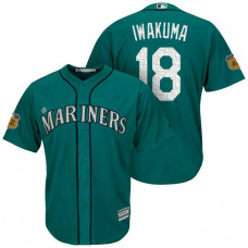 Seattle Mariners #18 Hisashi Iwakuma 2017 Spring Training Cactus League Patch Aqua Cool Base Jersey