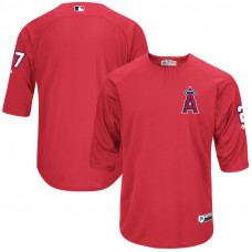 Los Angeles Angels Mike Trout On-Field 3/4-Sleeve Player Batting Practice Jersey - Red