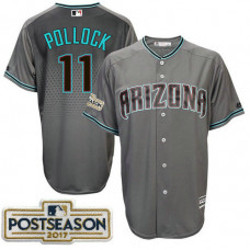 A.J. Pollock #11 Arizona Diamondbacks 2017 Postseason Grey Cool Base Jersey