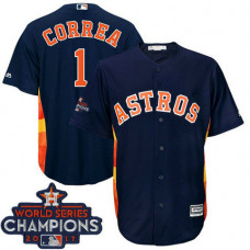 Houston Astros Carlos Correa #1 Navy 2017 World Series Champions Team Logo Patch Cool Base Jersey