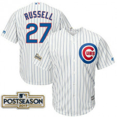 Addison Russell #27 Chicago Cubs 2017 Postseason White Cool Base Jersey
