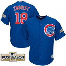 Ben Zobrist #18 Chicago Cubs 2017 Postseason Royal Cool Base Jersey