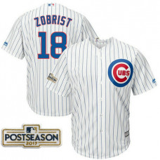 Ben Zobrist #18 Chicago Cubs 2017 Postseason White Cool Base Jersey